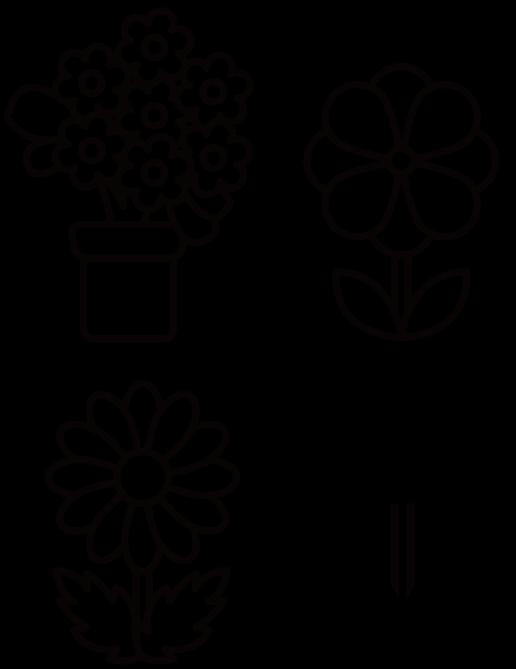 花4種類のイラスト(白黒) 無料素材 CC0 「素材ある」
