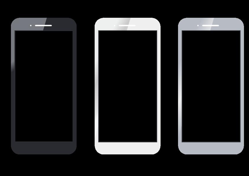 スマートフォンのイラスト(黒・白・グレーの3色) 無料素材 CC0 「素材ある」